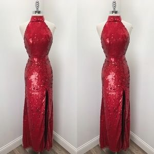 Mac Duggal Red Sequin Formal Prom Pageant Gown